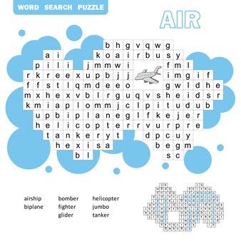 항공 운송 크로스 워드 퍼즐 게임. 어린이를 위한 답이 있는 검색 단어 게임. 벡터 평면 그림