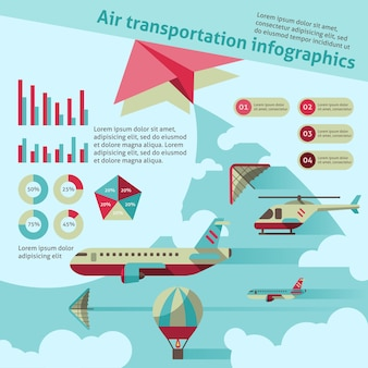 Air transport infographic template