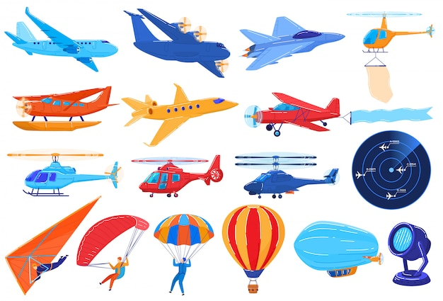 Air transport isolated on white, set of planes and helicopters in cartoon style,  illustration