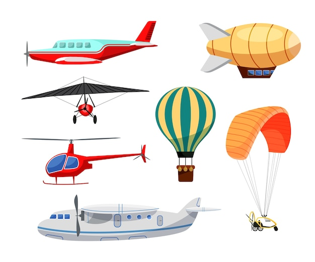 Air transport set isolated on white