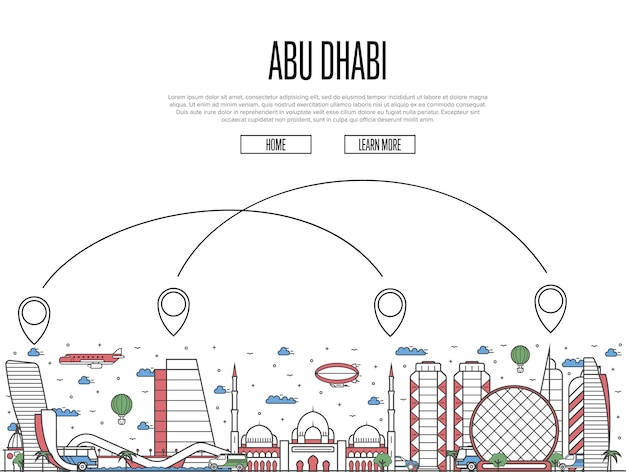 Air travel to abu dhabi template in linear style