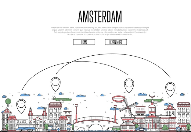 Air travel to amsterdam webpage in linear style
