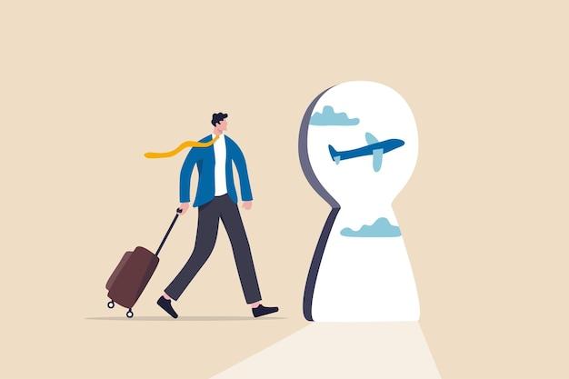 空の旅と観光は、covid-19コロナウイルスの発生の概念の後に戻ることを望んでいます。荷物を持ったビジネスマンの旅行者は、飛行機を外に飛ばして鍵穴を見ながら空港を歩きます。