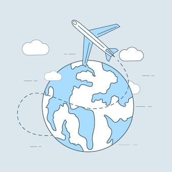 空の旅の漫画のアウトラインイラスト飛行機が飛び回る