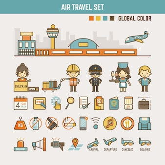 Air travel infographic elements for kids