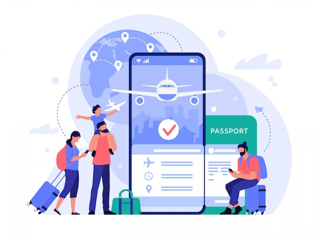 Приложение покупки авиабилетов. люди покупая билеты онлайн, телефон службы бронирования для туризма и отдыха, путешествия концепции иллюстрации. инструмент поиска рейсов. туристы, бронирующие