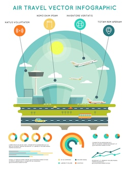 Шаблон инфографики вектор авиаперелетов с аэропортом и самолетами. транспорт и путешествия, транспортная авиакомпания