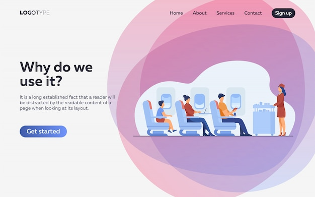 Air trip with comfort flat illustration. landing page or web template