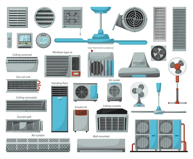 Air ventilator cartoon icon set