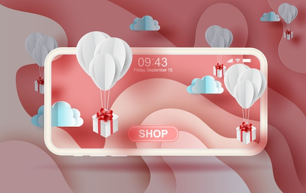 Air white balloons gift floating on pink