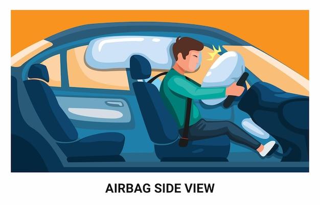 측면 보기 그림 벡터에서 사고로 에어백 안전 자동차