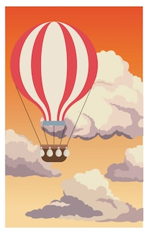 Airballoon flying sky sunset clouds