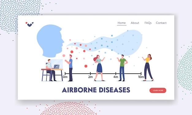 空中感染症、ウイルス感染着陸ページテンプレート。伝染性の細胞が飛び交う公共の場所を訪れるキャラクター。人々はインフルエンザを避けるために距離を置いて立っています。漫画のベクトル図