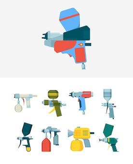 Пистолет для аэрографии. распылительное оборудование для промышленной окраски аэрографом для рисования векторных инструментов. пистолет для иллюстраций, аэрограф краски
