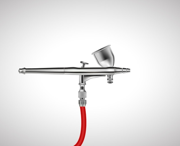 The airbrush tool chrome plated isolated on white background