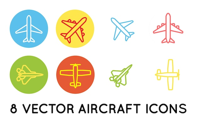 Aircraft or airplane flat minimal icons set collection vector silhouette