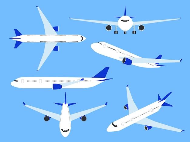 항공기. 비행기 상단, 측면 및 전면 보기, 빠른 운송 전세. 날개, 상업 여행 여행 및 파란색 배경에 고립 된 여행 항공 여객기 평면 벡터 세트와 화물 항공사