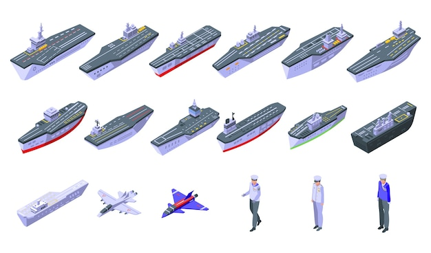 航空母艦のアイコンが設定されています。白い背景で隔離のウェブの空母アイコンの等尺性セット