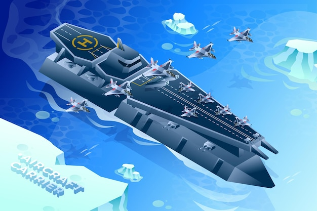 Aircraft carrier - isometric illustration