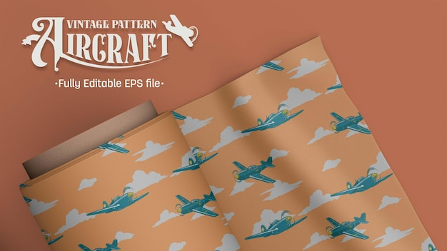 Aircraft fighter vintage pattern brown and tosca background