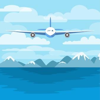 海の上を飛んでいる航空機。空と山を背景に飛行機。海の上を飛行します。図