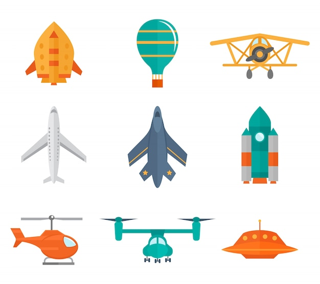 Aircraft icons flat set of space rocket propeller airplane ufo isolated vector illustration