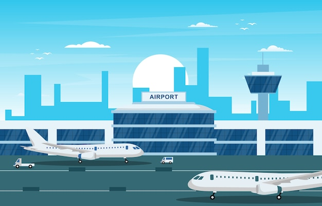 Aircraft plane in runway airport terminal building landscape skyline illustration