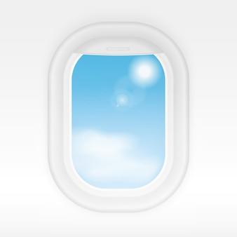 外は曇った青い空の航空機のリアルな内部ウィンドウ。飛行機の窓の旅行や観光の概念
