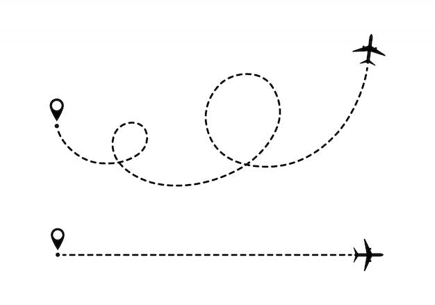 Маршрут самолета пунктирными линиями.
