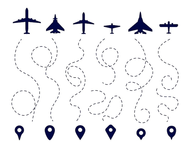 항공기 노선. 비행기 방향 흔적. 비행 점선, 항공 여행 경로. 지도 탐색, 핀 포인터 비행기