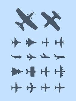 Силуэты самолетов. самолет для путешественников, реактивный транспорт, авиация, иконки. самолет воздушный полет реактивный силуэт, иллюстрация транспортного самолета