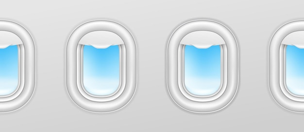 Окна самолетов. иллюминаторы самолета, самолет иллюминаторов бесшовные векторные экстерьер с голубым небом снаружи. иллюстрация полета самолета, вид на интерьер с иллюминатором