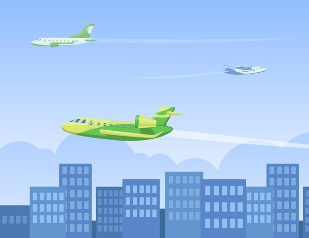 Aircrafts flying in air above city flat  illustration