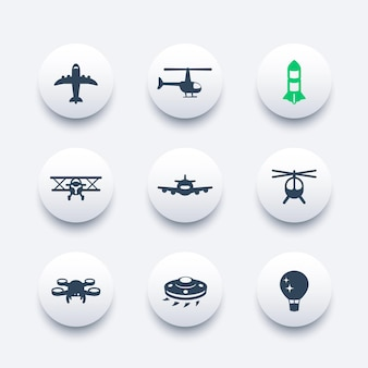 Aircrafts icons set, aviation, air transport, airplane, helicopter, drone, biplane, alien spaceship, balloon