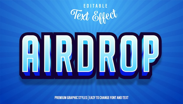 Редактируемый текстовый эффект названия игры airdrop