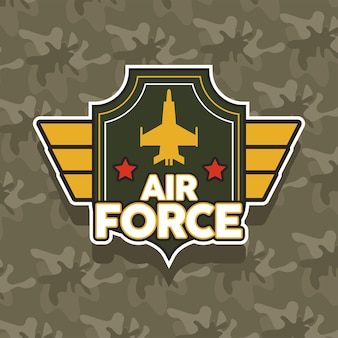 Airforce emblem with golden airplane military icon