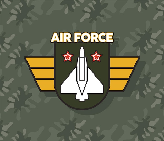 Airforce shield with golden wings military emblem