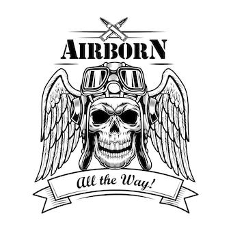 공군 군인 해골 벡터 일러스트입니다. 모자와 고글의 조종사 머리, 날개, 총알, 공기 탄생, 모든 방법 텍스트. 엠블럼 또는 문신 템플릿에 대한 군대 또는 군대 개념