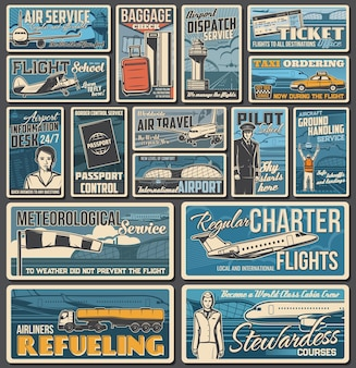 Airline and airport services, air travel banners