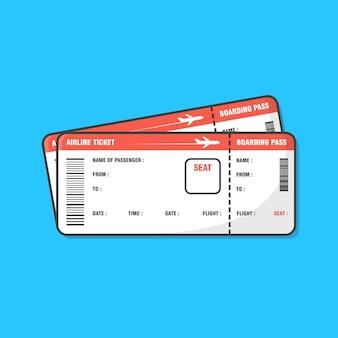 Билет на посадочный талон на самолет, изолированный на синем