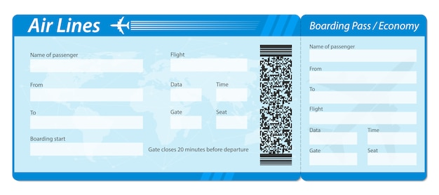 Airline boarding pass ticket for plane traveling.
