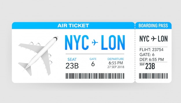 Airline boarding pass tickets to plane for travel journey. airline tickets.   illustration.