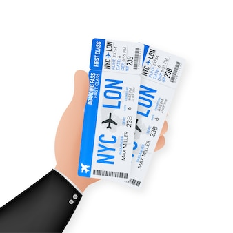 Airline boarding pass tickets to plane for travel journey. airline tickets