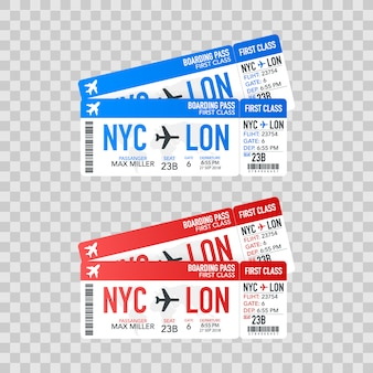 Airline boarding pass tickets to plane for travel journey.  illustration.