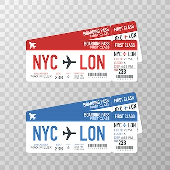 Airline boarding pass tickets to plane for travel journey.