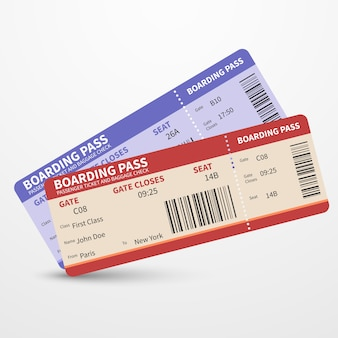 Airline boarding pass tickets vector travel journey concept