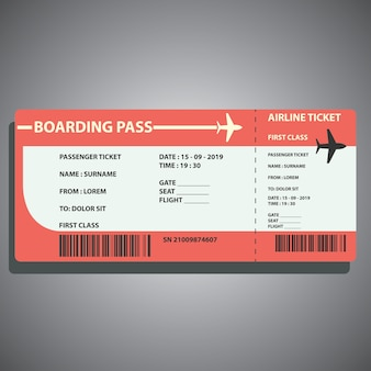 Airline boarding ticket for traveling by plane