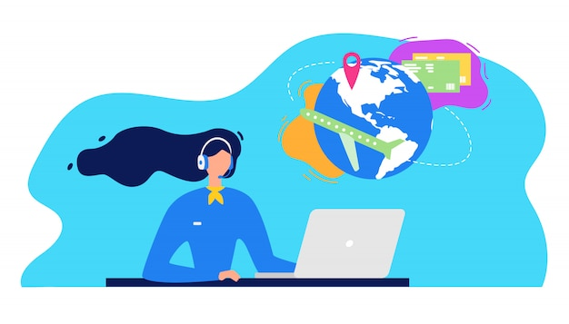 Airline company helpdesk service vector concept