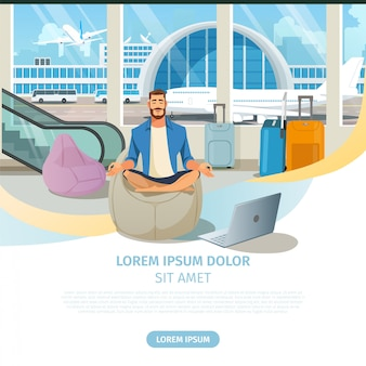 Airline company online services vector website