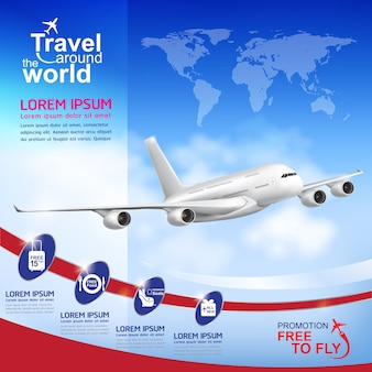 Airline  concept travel around the world template